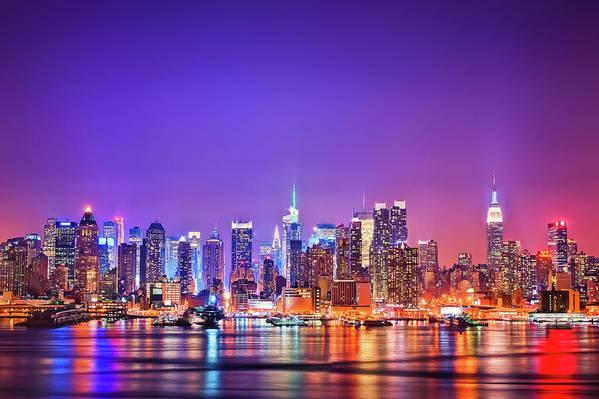 Horizontal Art Print featuring the photograph Manhattan Lights by Matthias Haker Photography