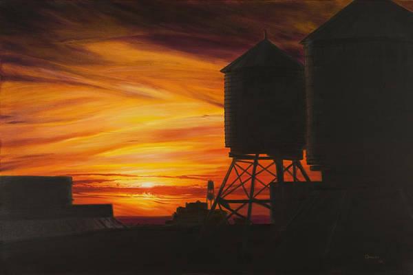 Manhattan Sunset Art Print featuring the painting Manhattan Sunset by Christopher Oakley