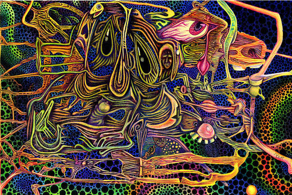 Color Art Print featuring the drawing Manic Depression by James Hammons