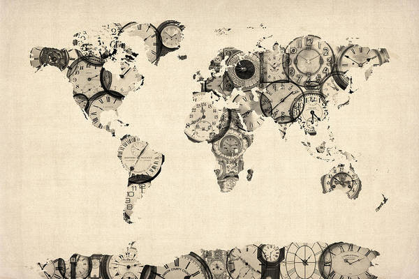 World Map Art Print featuring the digital art Map Of The World Map From Old Clocks by Michael Tompsett