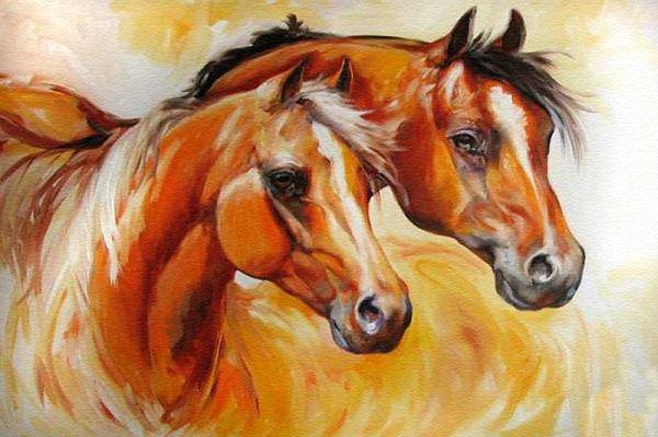 Equine Art Print featuring the painting Mare And Stallion By M Baldwin Sold by Marcia Baldwin
