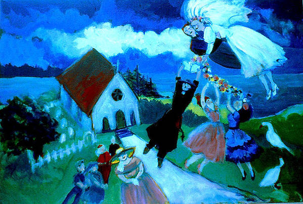 Art Print featuring the painting Mariage En Campagne by Anne Marie Bourgeois