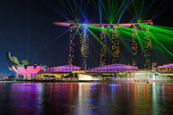 Singapore Art Print featuring the photograph Marina Bay Sands Lasershow by Martin Fleckenstein