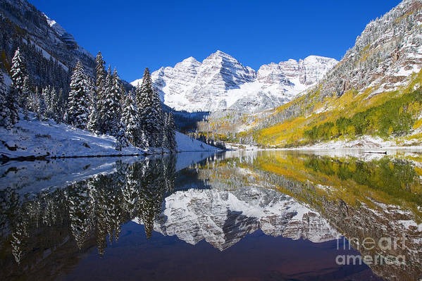 Aspen Art Print featuring the photograph Maroon Lake And Bells 1 by Ron Dahlquist - Printscapes