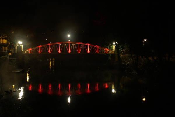 Colour-changing Bridge At Matlock Art Print featuring the photograph Matlock Bridge Uk by Gillian Lovett