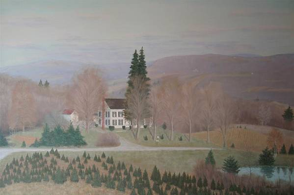 Old Federal Farm House Art Print featuring the painting Mccarty Farm House by Joseph Stevenson