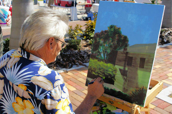 Artist At Work Art Print featuring the photograph Me At Work Painting The Building With My Studio In It by Charles Peck