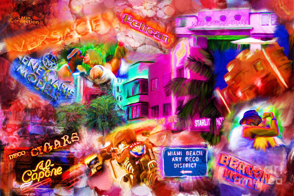 Southbeach Art Print featuring the mixed media Miami Deco by Marilyn Sholin