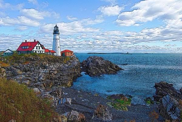 Lighthouse Art Print featuring the photograph Midday - Portland Head Light by Robert Boyette