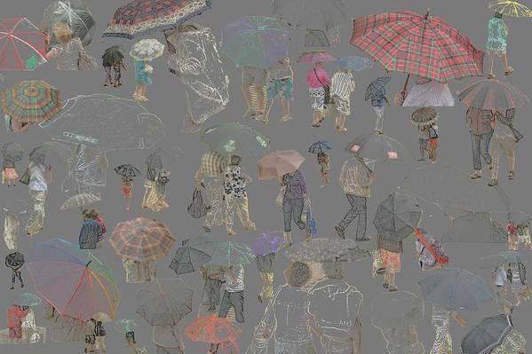 Umbrella People Collage Art Print featuring the photograph Middelkerke Umbrellas by Dominique De Leeuw