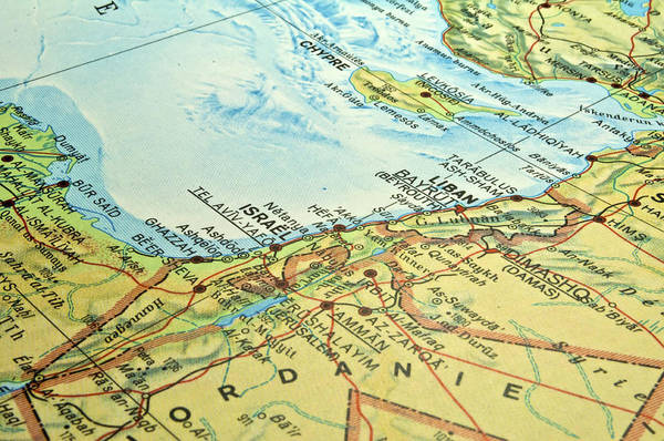 Middle Art Print featuring the photograph Middle East Map. by Fernando Barozza