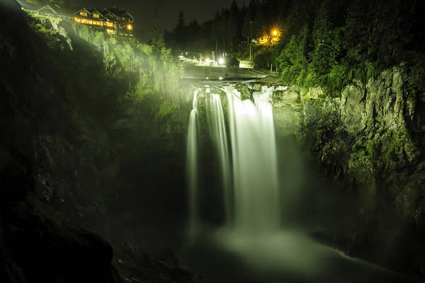 Snoqualmie Falls Art Print featuring the photograph Midnight Curtain by Ryan McGinnis