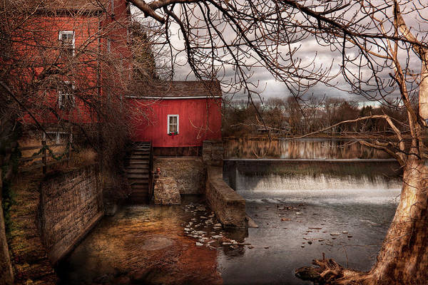 Savad Print featuring the photograph Mill - Clinton Nj - The Mill And Wheel by Mike Savad