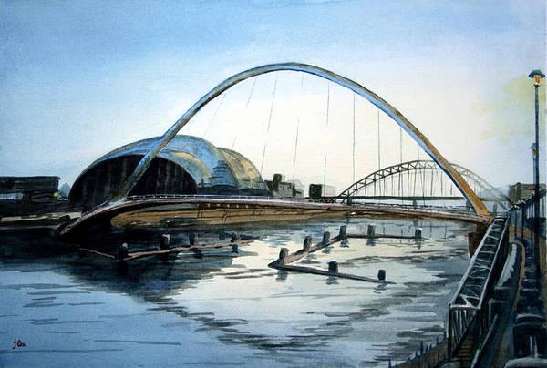 Bridge. River. Tyne. Newcastle. England. Uk. Art Print featuring the painting Millenium Bridge. Newcastle Upon Tyne. by John Cox