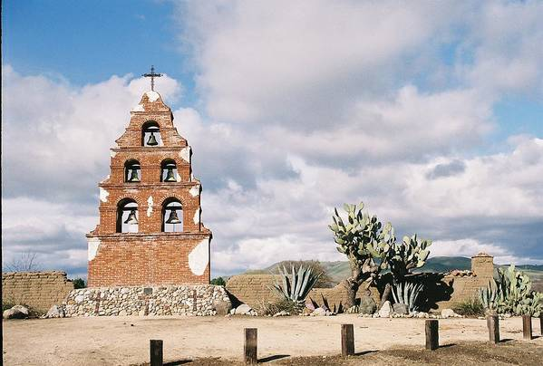 Landscape Art Print featuring the photograph Mission Bells South Wall by Edward Wolverton