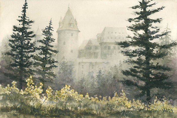 Castle Print featuring the painting Misty Morning by Sam Sidders