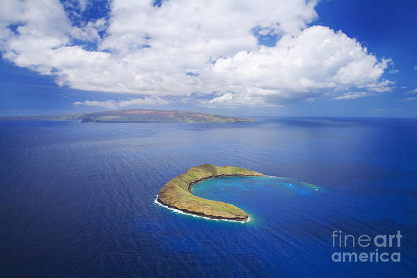 Above Art Print featuring the photograph Molokini Aerial by Ron Dahlquist - Printscapes