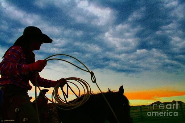 Art Art Print featuring the photograph Montana Cowgirl ... Montana Art Photo by GiselaSchneider MontanaArtist