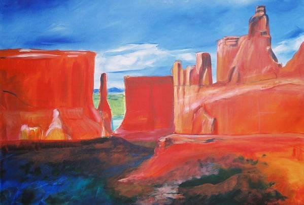 Floral Art Print featuring the painting Monument Valley by Eric Schiabor