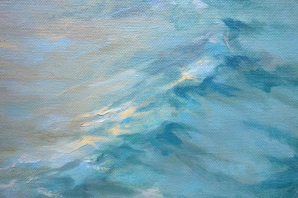 Surf Paintings Art Print featuring the painting Moonlit Waves by Lisa H Ridabock