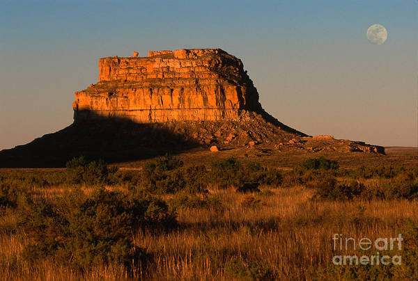 New Mexico Art Print featuring the photograph Moonset At Fajada Butte by Sandra Bronstein