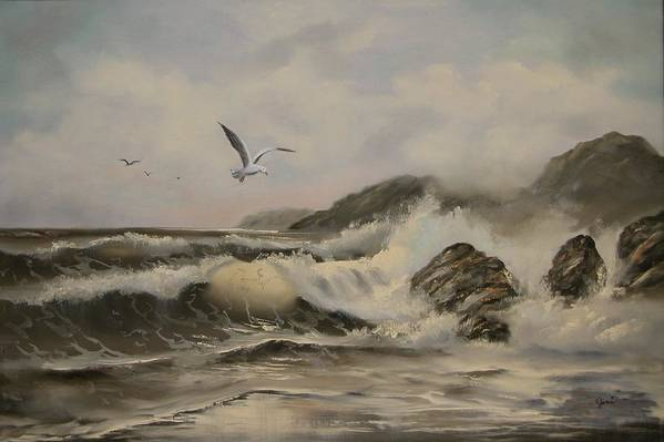 Seascape Art Print featuring the painting Morning Thunder by Joni McPherson