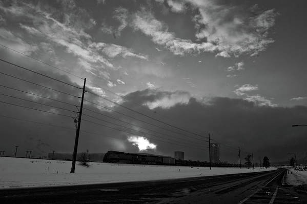 Seshat Art Print featuring the photograph Morning Train In Black And White by Scott Sawyer