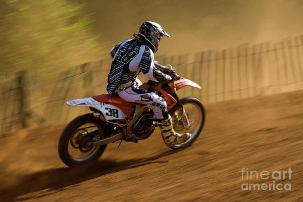 Bike Art Print featuring the photograph Motocross by Angel Ciesniarska