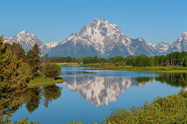 Mount Moran On Snake River At Oxbow Bend Grand Teton National Park Art Print featuring the photograph Mount Moran On Snake River Landscape by Brian Harig