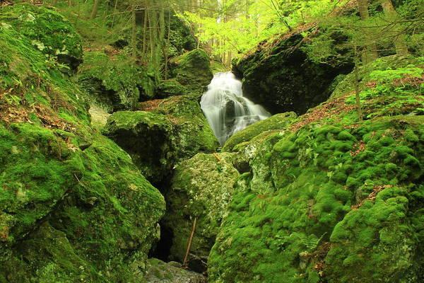 Waterfall Art Print featuring the photograph Mount Toby Roaring Falls Ravine by John Burk