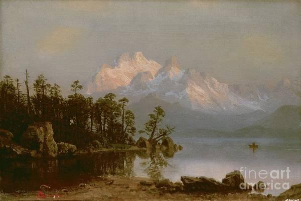 Bierstadt Art Print featuring the painting Mountain Canoeing by Albert Bierstadt