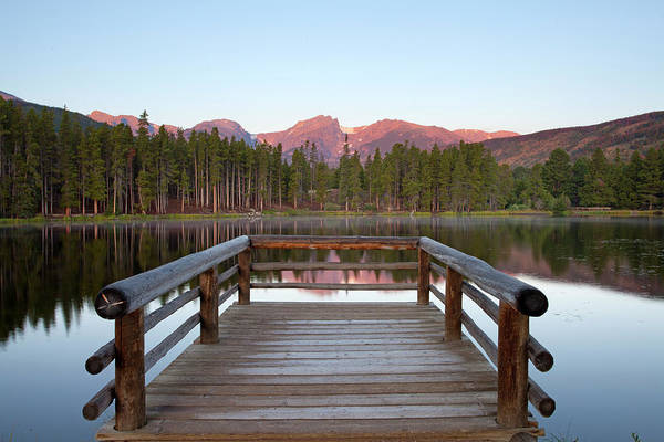 Horizontal Art Print featuring the photograph Mountains Behind Sprague Lake by Lightvision, LLC