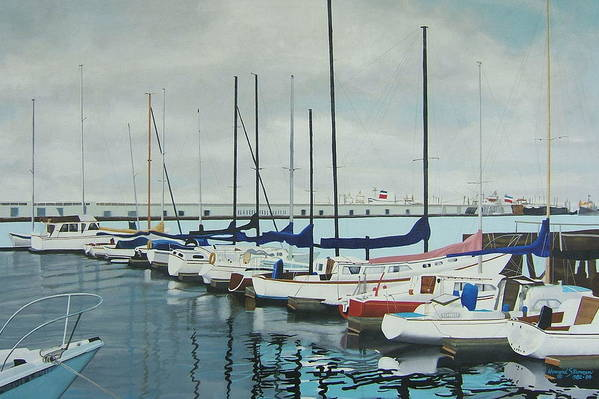 Boats At Dock Art Print featuring the painting Mozells Boats by Howard Stroman