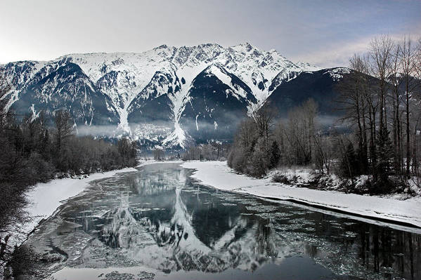 Mt Currie Art Print featuring the photograph Mt Currie Reflected In Lillooet River Pemberton by Pierre Leclerc Photography