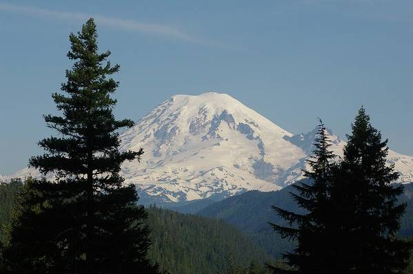 Mt Rainer Art Print featuring the photograph Mt Rainer From The Hills In Packwood Wa by Jeff Swan