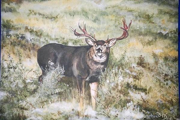 Mule Deer Art Print featuring the painting Muley by Debra Sandstrom