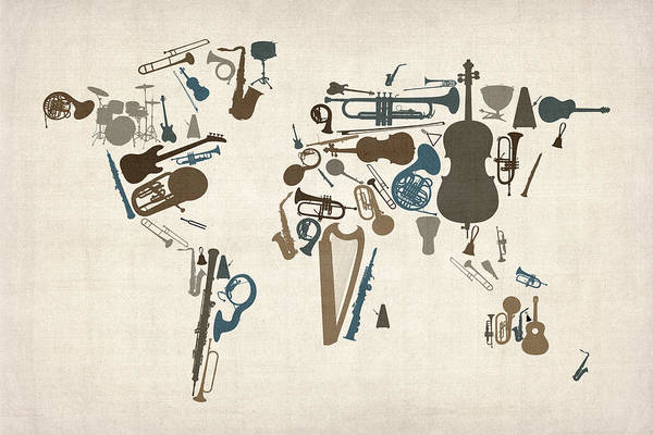 World Map Art Print featuring the digital art Musical Instruments Map Of The World Map by Michael Tompsett
