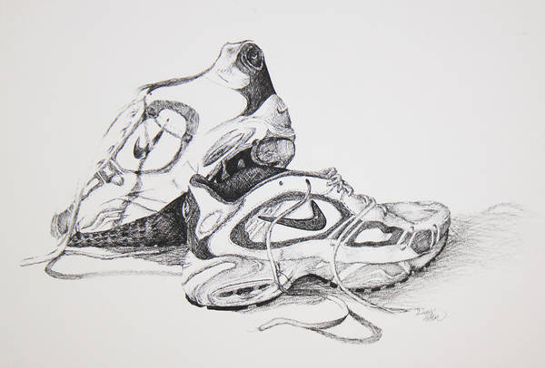 My Running Shoes Art Print featuring the drawing My Running Shoes by Dixie Trent