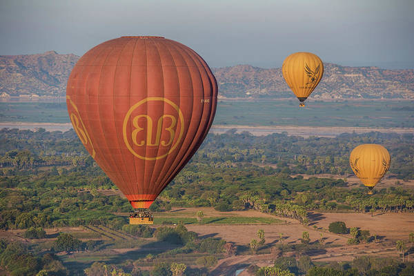 Myanmar Art Print featuring the photograph Myanmar. Bagan. Hot Air Balloons. In The Air. by Vadim K