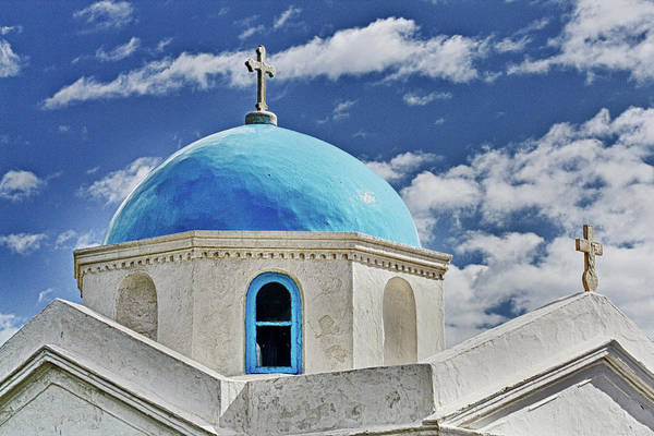 Mykonos Art Print featuring the photograph Mykonos Blue Church Dome by Linda Pulvermacher