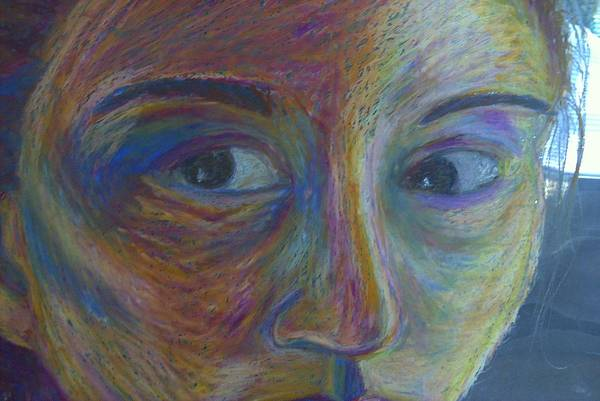 Portrait Eyes Face Art Print featuring the painting Mylar Portrait by Sally Van Driest