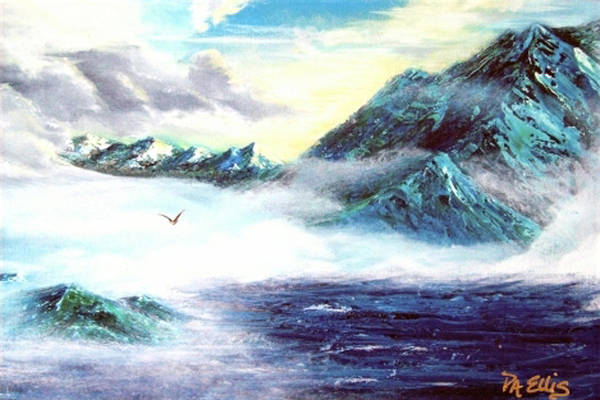 Mountains Art Print featuring the painting Mystic Morning by Pam Ellis