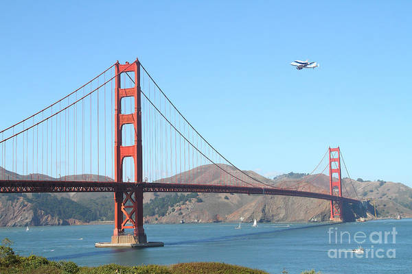 San Francisco Art Print featuring the photograph Nasa Space Shuttle's Final Hurrah Over The San Francisco Golden Gate Bridge by Wingsdomain Art and Photography