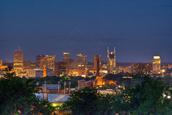 Nashville Art Print featuring the photograph Nashville By Night 2 by Douglas Barnett