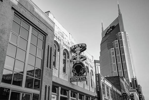 Nashville Skyline Art Print featuring the photograph Nashville Hats And Boots Cowboy Skyline - Black And White by Gregory Ballos