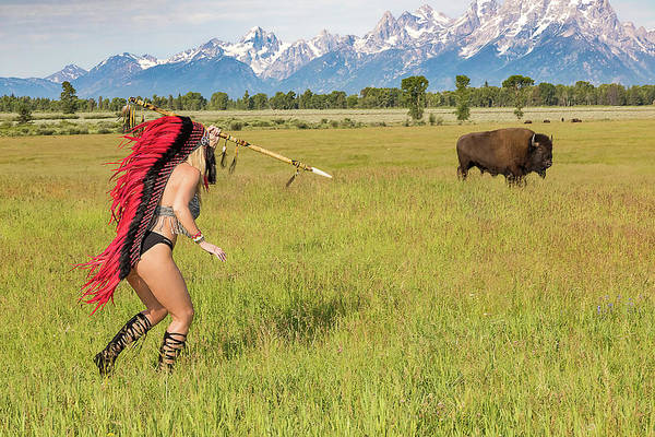 Buffalo Art Print featuring the photograph Native American Darcy 3 by Allegory Imaging