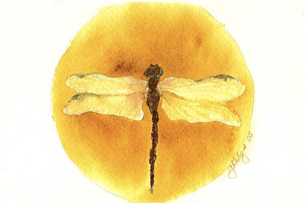 Dragonfly Print featuring the painting Native Dragonfly by Gladys Folkers