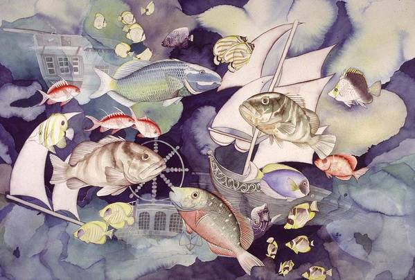 Sealife Art Print featuring the painting Nautical Players by Liduine Bekman