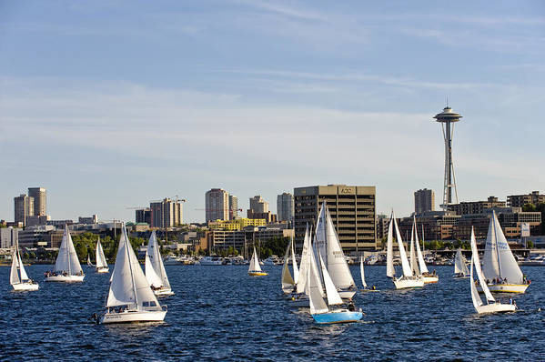 Seattle Art Print featuring the photograph Needle Sails By by Tom Dowd