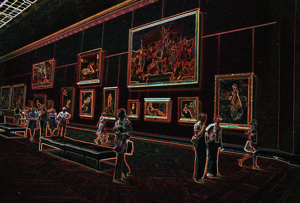 Adobe Photoshop Art Print featuring the photograph Neon Art Gallery At Louvre by Carl Purcell